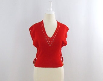 Cherry Pop Sweater Vest -  Vintage 1970s Women's Red Sleeveless Top in Small