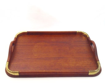 Vintage Teak Campaign Style Serving Tray
