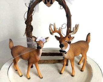 Redneck Cake Topper / Deer Cake Topper / Wedding Cake Topper / Rustic White Tail Deer Cake Topper