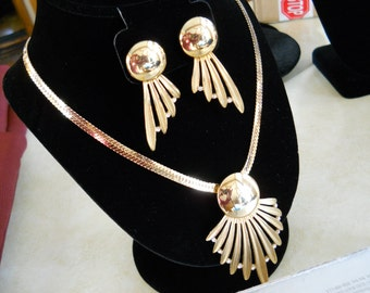 Gold Tone Statement Necklace and Earring Set Rhinestone Accents Demi Parure Vintage