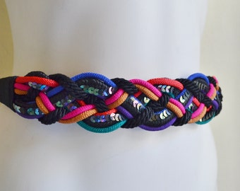 """Vintage Braided Rope Belt Multi Color Black Purple Gold Green Pink Blue Sequins Small 26"""""""