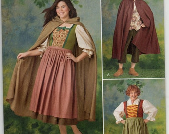 Hooded Cloak And Dress Puffed Sleeves Medieval Size 8 10 12 14 16 18 Adult Costume Sewing Pattern Plus Size 2012 Simplicity 1771