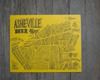 Asheville Beer Map Second Edition, Letterpress Printed Original Illustration