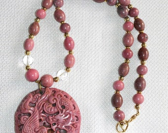 Chinese Dragon Carving on High Grade Rhodonite Pendant Hanging on Rhodonite Beaded Chain Pink Gemstone is Better Friend than Diamonds