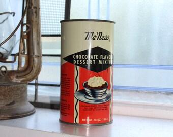 Vintage Kitchen Tin McNess Chocolate Flavored Dessert Mixture