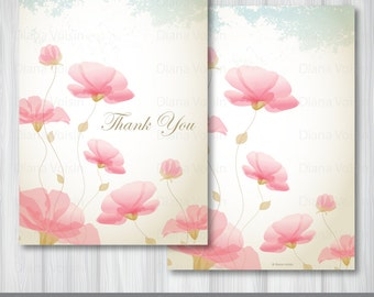 Pink Rose Thank You Card: Digital Romantic Floral Pattern - YOU PRINT Instant DOWNLOAD