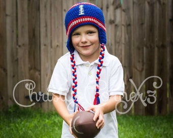 Red Blue and White Crochet Football Hat - Baby Football Hat - Sizes Newborn through Adult