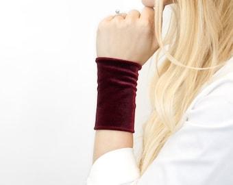 Velvet Bracelet, Wrist Cuff, Maroon Burgundy Stretch Cuffs, Tattoo Cover Up Wrist Covers, Wide Arm Wristband Band, Fabric Jewelry Armband