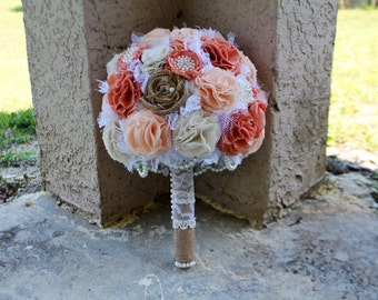 Romantic rustic peach, ivory and burlap bridal wedding bouquet. Shabby chic fabric flowers. Ombre style