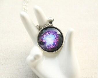 Crab Nebula Necklace - Purple Crab Nebula Image Necklace - Galaxy Series (G004)