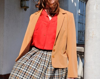 Vintage Camel Brown Cropped Blazer Jacket