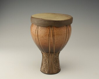 lidded jar shaped like a djembe, African drum lidded jar, drum shaped cookie jar, ceramic jar with lid, gift for musicians, decorative jar