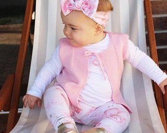 Hand Knitted 'Bellamy' Sleevesless Vest, Gilet,  Girl or Boy sizes to fit NB to 18M Made to Order Custom Colour Choice