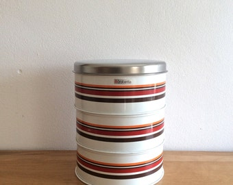 DISCOUNTED : set of three mod round white stackable Brabantia tin storage containers or canisters with chrome lids