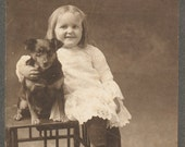 Love and a Puppy little cutie portrait cabinet card portrait vernacular photography found photo