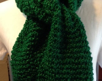 Green Gold Christmas scarf, winter scarf, soft warm scarf, knit scarf for adults and teens, Christmas clothing, Holiday accessory,  Holiday