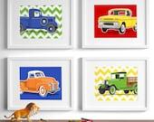 truck art childrens art - retro vintage truck drawings - set of 4 transportation wall art prints - nursery art for boys