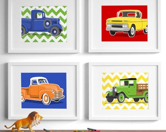 truck art childrens art - retro vintage truck drawings - set of 4 transportation wall art prints - nursery art for boys