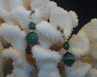 Vintage  African Banded Malachite Dangle Earrings
