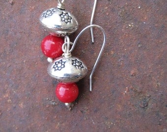 Coral and Silver Beaded Boho Chic Earrings