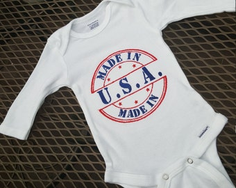 Custom Embroidered Made In U.S.A. Onesie - Patriotic Onesie - Unisex Onesie - Memorial Day - Independence Day - Labor Day - READY TO SHIP