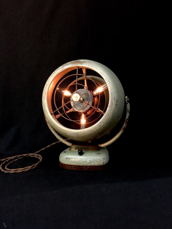 Table Lamp Upcycled Vintage Fan