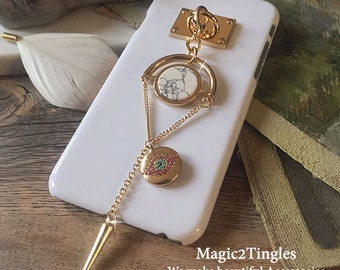 Glamorous Classic Gold Hook with Unique Chain For iPhone 7 6s PLUS SE Marble Stone Crytal Evil Eye Spike Triangle Rectangular Cone Geometry