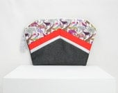 Clutch in animals printed Liberty cotton fabric