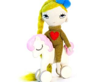 Cute doll, stuffed doll, fabric doll, ragdoll, plushie, artdoll, embroidered doll, cloth doll, soft doll