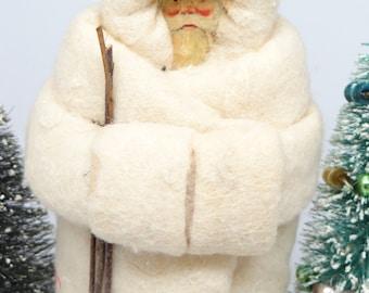 Vintage Scrap Face White  Cotton Santa for Christmas