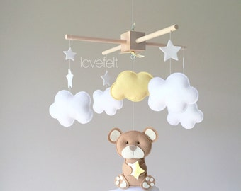 Baby mobile - bear mobile - clouds mobile - teddy bear mobile - yellow and gray mobile - neutral mobile
