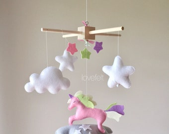 Baby mobile - cloud mobile - unicorn mobile - baby mobile stars - pink and green mobile - pink and lavender mobile
