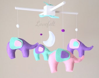 Baby mobile elephant - baby mobile - elephant mobile - mint and pink mobile