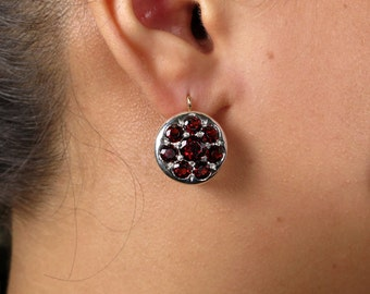 Victorian Era European 10.26ct Deep Red Garnet Pendent  Dangling EARRINGS in 14k Rose Gold and Silver