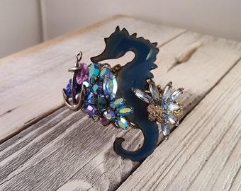 OOAK Nautical Seahorse Mixed Media Collage Statement Cuff Bracelet