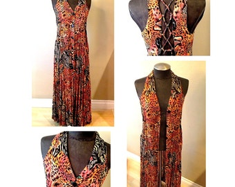 Vintage Tribal Dress or Long Vest with Corseted Back Size Small Medium