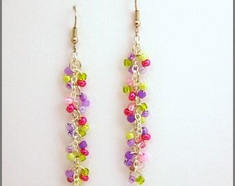 Butterfly garden earrings-hypo allergenic ear wires-beaded dangle earrings-summer floral jewelry-teen women jewelry-m2m bracelet--SRAJD