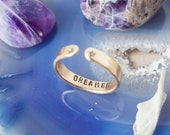 Dreamer brass secret message ring. Brass hand stamped quote ring. Inspirational quote ring. Skinny stacking ring. Zenned Out. RTS RB001