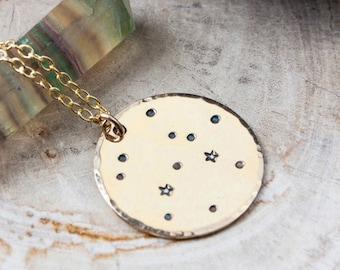 Sagittarius constellation zodiac necklace. Gold zodiac constellation necklace. Sagittarius necklace. Sagittarius zodiac gift necklace.