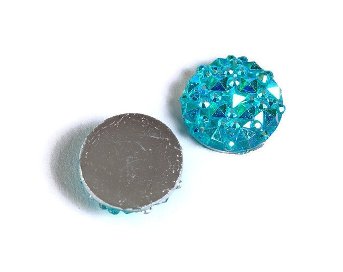 12mm Teal blue green AB round resin cabochon - Faux druzy cabochon - Faux drusy cabochon - Textured cabochons (1673) - Flat rate shipping