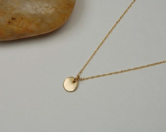 14K Gold Nugget Necklace Handmade Dainty Gold Necklace Simple Gold Necklace Solid Gold Necklace Minimalist Necklace