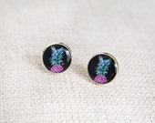 Pineapple earrings black, turquoise & purple pop art style. Stud earrings / resin jewelry / photo jewelry / wearable art / pineapple jewelry
