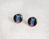 Pineapple earrings black, turquoise & purple pop art style. Stud earrings / resin jewelry /photo jewelry /wearable art / pineapple jewelry