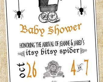 Halloween Baby Shower Invitation & Insert DIGITAL FILE