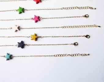 Gift for her / Minimalist stackable bracelet / Star bracelet /  Gift for her / Choose your color bracelet /