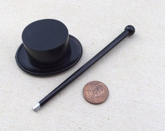 Vintage Black plastic Top hat and cane / Doll Making / fashion doll size/ repurposed / Doll Supply / Craft supplies / altered art / DIY