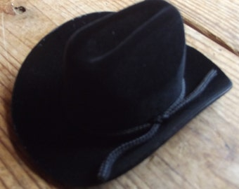 Black plastic doll cowboy hat / Doll Making supplies / plastic hat base / Doll Supplies / black hat / Craft supplies velvet