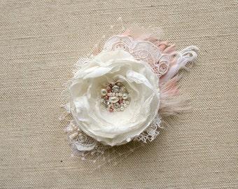 Wedding Hair Piece Ivory Blush Bridal Headpiece Wedding Hair Flower Lace Bridal Flower Wedding Bridal Hair Accessories Bridal Fascinator