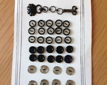 Vintage sery of black buttons  antique costume 60's