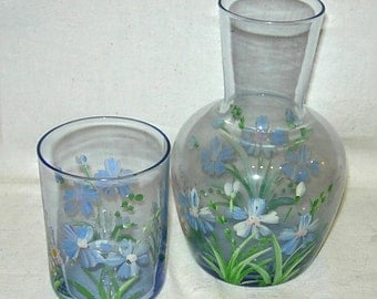 Bedside Tumbler-Carafe Decanter Set Blue Tinted Glass Hand Painted Flowers
